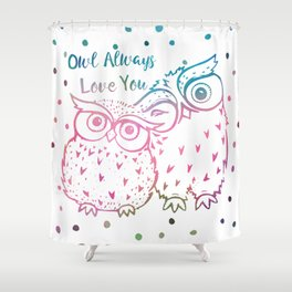 Owl Always Love You - Pink and Blue Shower Curtain