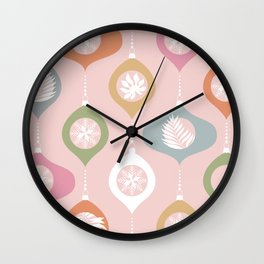Retro Christmas Baubles Pattern on Pastel Pink Wall Clock