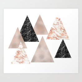 Rose gold marble geo triangles Art Print