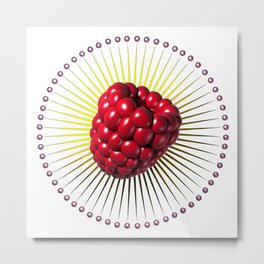raspberry, sweet and sexy fruit with aureole Metal Print