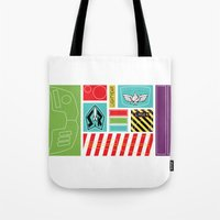 buzz lightyear Tote Bags featuring TOY STORY : BUZZ LIGHTYEAR STICKERS KIT by DrakenStuff+