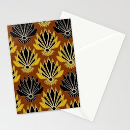 ART DECO YELLOW BLACK COFFEE BROWN AGAVE ABSTRACT Stationery Cards