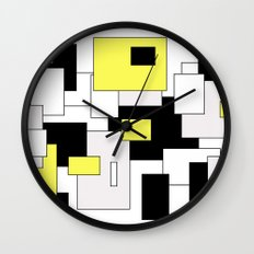 Squares - yellow, black and white. Wall Clock