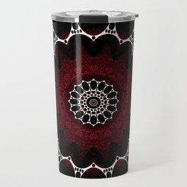 Deep Ruby Red Mandala Design Travel Mug