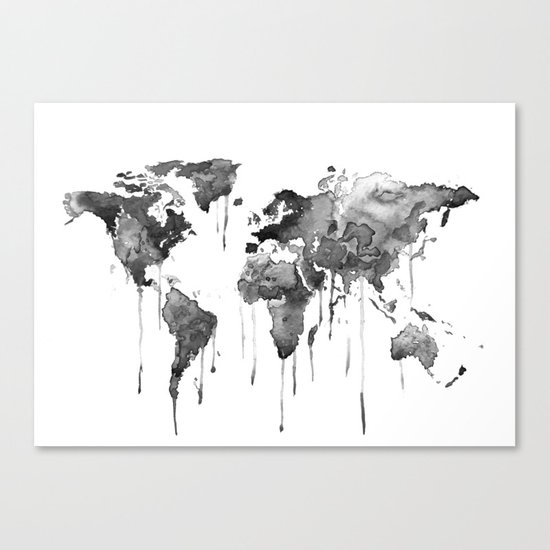 World map 2, black and white Canvas Print