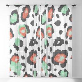 red teal animal print Sheer Curtain