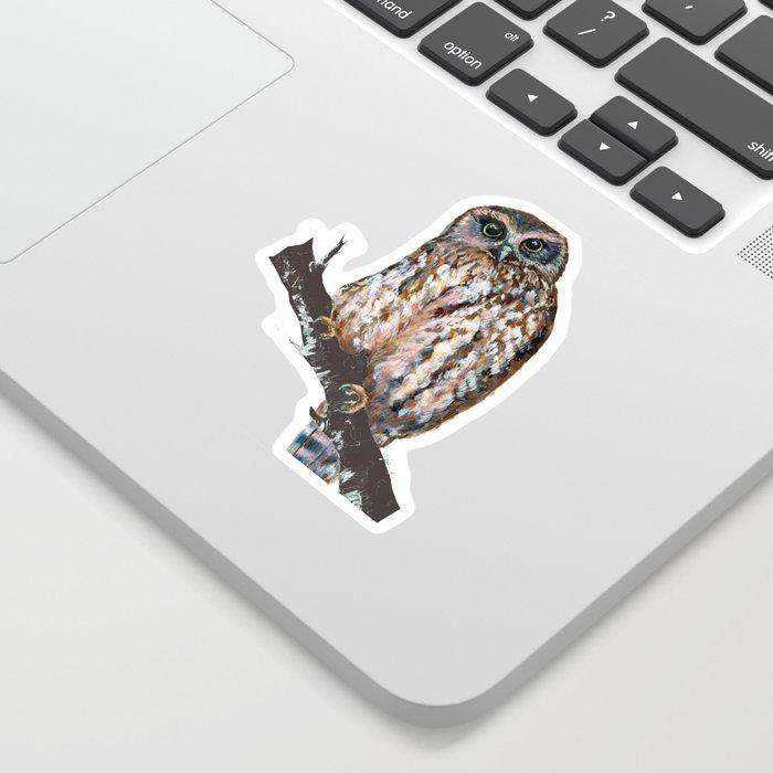 Mrs Ruru, New Zealand Morepork Owl Sticker