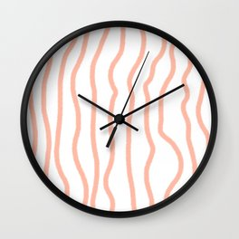 Hand Drawn Lines, Peach/Living Coral Color Wall Clock