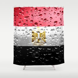 Flag of Egypt - Raindrops Shower Curtain