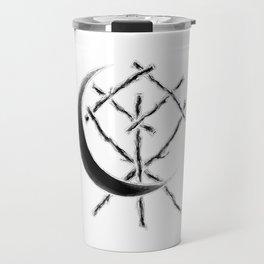 Crescent Moon Rune Binding at Midnight Travel Mug