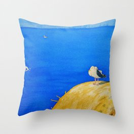 Sea Gull On The Rock Throw Pillow