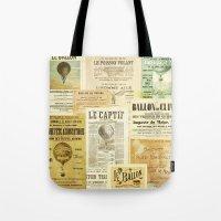 ballon Tote Bags featuring Le Ballon by Ephemera's Vintage Garden
