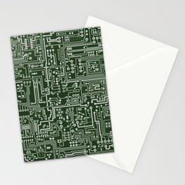 Circuit Board // Green & Silver Stationery Cards