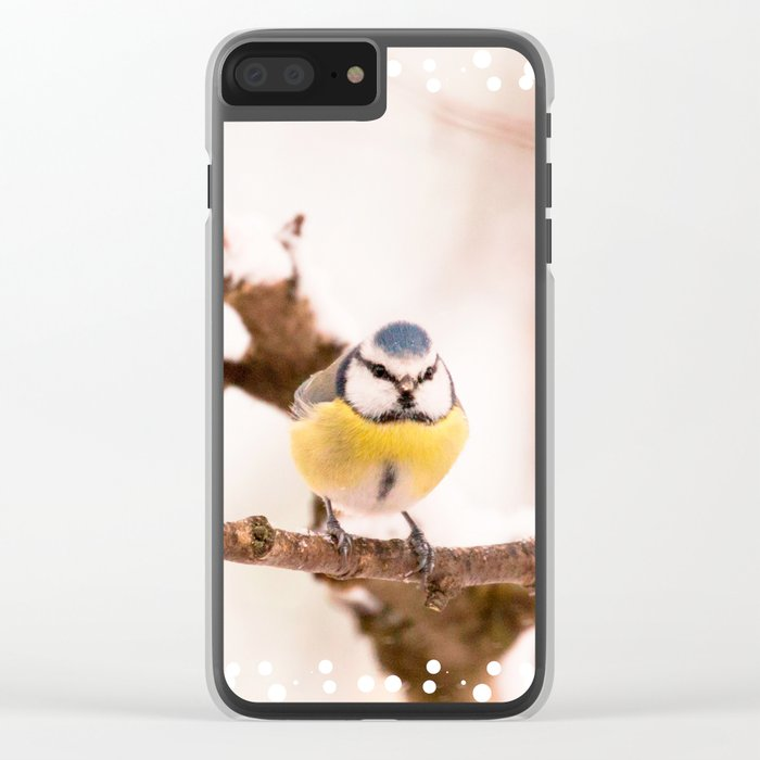 Blue tit on a branch #decor #buyart #society6 Clear iPhone Case