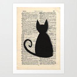 Dictionary Cat Art Print