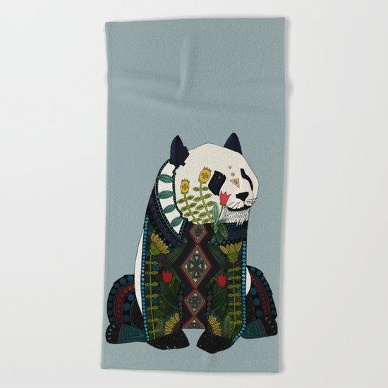 panda silver Beach Towel