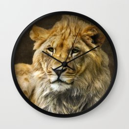 The young lion Wall Clock