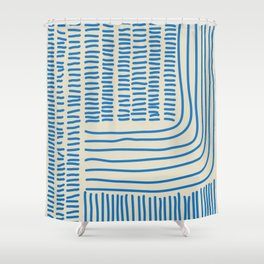 Digital Stitches thick beige + blue Shower Curtain