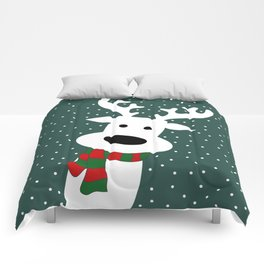 Reindeer in a snowy day (green) Comforters