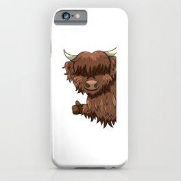Thumbs Up Highland Cow Heilan Cattle iPhone Case