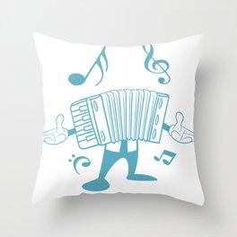Accordion Man Melodeon Piano Accordion Notes Gift Throw Pillow