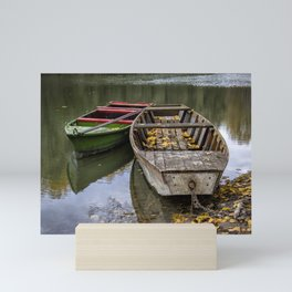 Rowboats On The Water In Autumn Mini Art Print