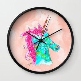 Unicorn on Peach watercolour Wall Clock