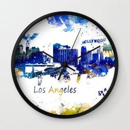 Los Angeles Skyline yellow-blue Wall Clock