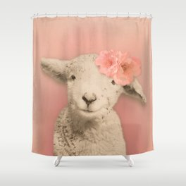 Flower Sheep Girl Portrait, Dusty Flamingo Pink Background Shower Curtain