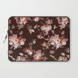 Modern burgundy rose gold coral glitter floral Laptop Sleeve