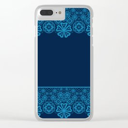 Retro Vintage Blue lace on dark blue background Clear iPhone Case