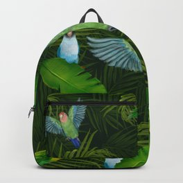 Lovebirds and tropical leafs Backpack