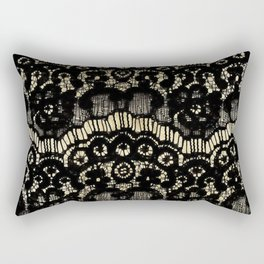Luxury chic faux gold black floral french lace Rectangular Pillow