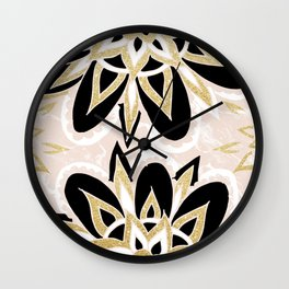 Modern black gold pink abstract floral pattern Wall Clock