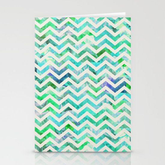 GREEN FLORAL CHEVRON Stationery Cards