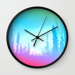Bright Colorful Forest Wall Clock