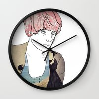 introvert Wall Clocks featuring introvert girl by Katharina Nachher