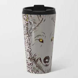 Art print: The Wolf is looking with typo Travel Mug