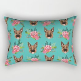 German Shepherd florals bouquet dog breed pet friendly pattern dogs Rectangular Pillow