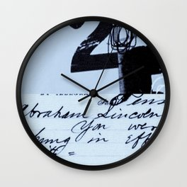 hung in effigy city blue Wall Clock