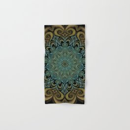 Teal and Gold Mandala Swirl Hand & Bath Towel