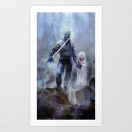 Knight and Girl Art Print