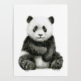 Baby Panda Watercolor Poster