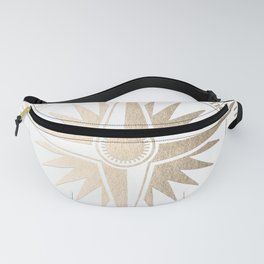 Gold on White Compass Fanny Pack