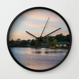 Peaceful Cabin on the Lake During Sunrise Wall Clock
