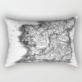 Vintage Black and White Ireland MAp Rectangular Pillow