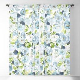 Blue Watercolor Floral Print, Hand-Painted Flowers, Slate Blue, Roses, Romantic Bouquet, Blackout Curtain