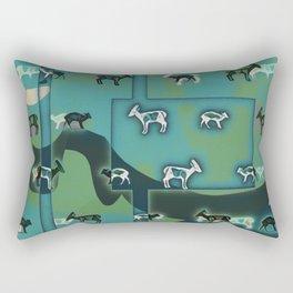Muntjac Green. Rectangular Pillow