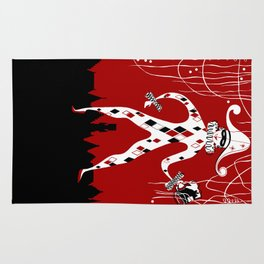 Retro vintage harlequin clown music cover Rug