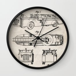 Fire Truck Patent - Aerial Fireman Truck Art - Antique Wall Clock